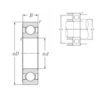 110 mm x 170 mm x 28 mm  NTN 6022 Deep Groove Ball Bearings